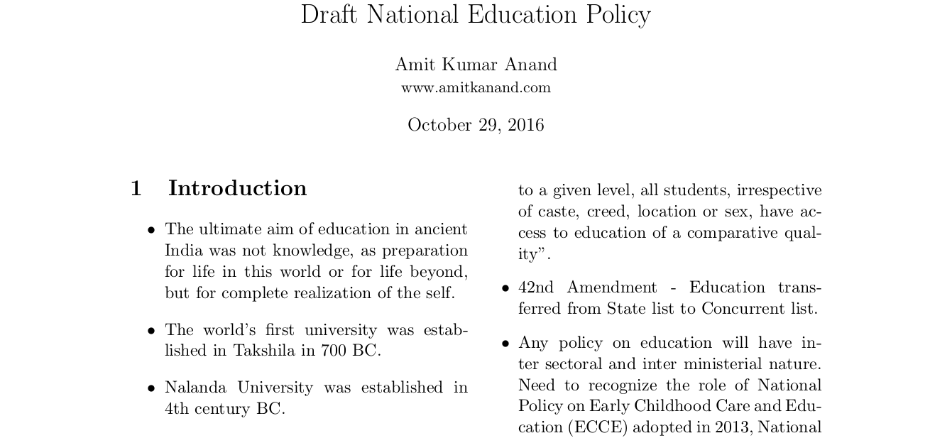 Draft National Education Policy 2016